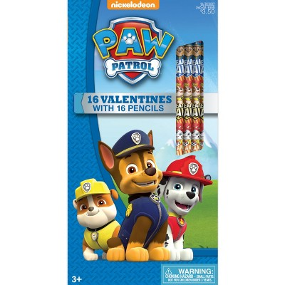 16ct Paw Patrol Valentine Card Pack with Pencils