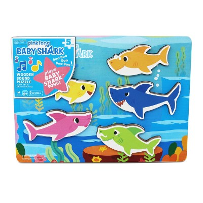 Cardinal Pinkfong Baby Shark Chunky Wooden Sound Puzzle 5pc