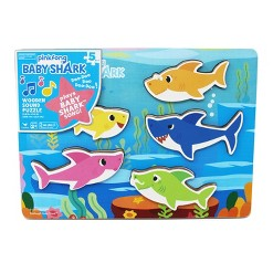 Cardinal Pinkfong Baby Shark Chunky Wooden Sound Puzzle 5pc, Kids Unisex