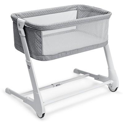 Babyjoy Baby Side Bassinet Bedside Sleeper Washable Mattress Height Adjustable GreyWhite