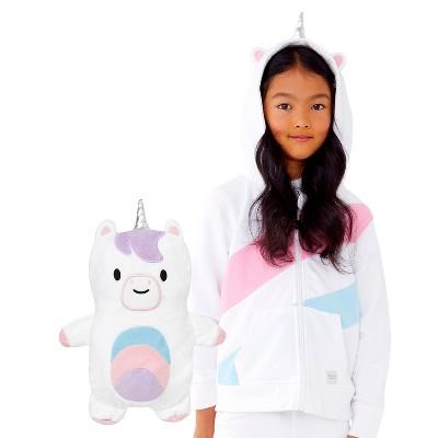 Cubcoats Kids Uki the Unicorn 2-in-1 Stuffed Animal & Hooded Zip Up Sweatshirt