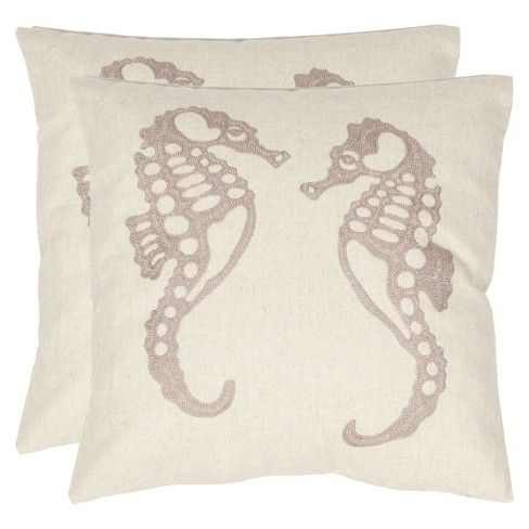 "Ivory Dahli Seahorse Throw Pillow (18""x18"") - Safavieh - image 1 of 1"