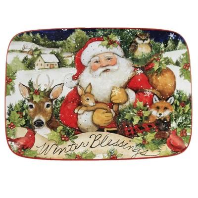"Tabletop 10.0"" Magic Christmas Santa Platter Woodland Snowy Certified International  -  Serving Platters"