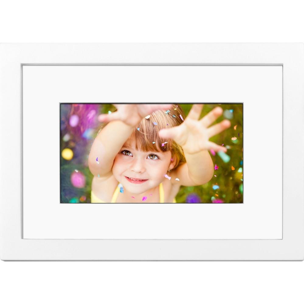 "Image of ""7"""" Digital Wood Frame - Polaroid, White"""