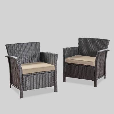 St Lucia 2pc Wicker Club Chairs - Brown/Tan - Christopher Knight Home
