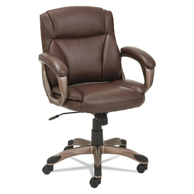 Alera Veon Series Low-Back Leather Task Chair w/Coil Spring Cushion Brown VN6159