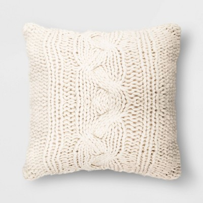 Oversized Square Chunky Cable Knit Throw Pillow Cream - Threshold™