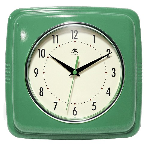 "9.25"" Retro Square Wall Clock Green - Infinity Instruments - image 1 of 3"