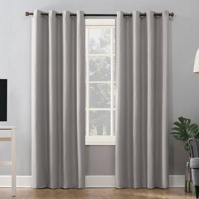 "84""x52"" Kenji Woven Scalloped Design Total Blackout Grommet Curtain Panel Light Gray - Sun Zero"