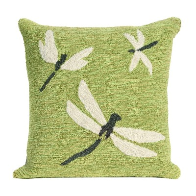 Liora Manne Whimsy Indoor Outdoor Patio Accent Throw Pillow for Living Room Sofa Couch, Porch Swing, and Beds, Dragonfly, 18 x 18 Inches, Green