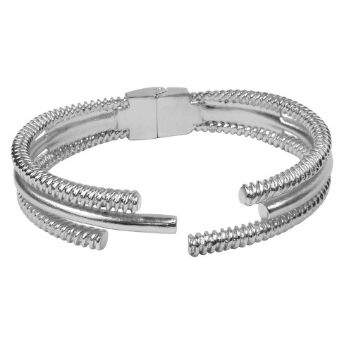 Hinge Bracelet with Textured Three Row - Silver - image 1 of 1