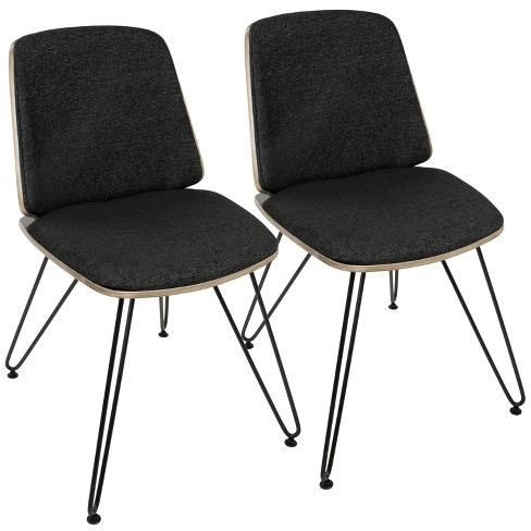 Set of 2 Avery Mid Century Modern Accent Dining Chair Dark Gray/Black - LumiSource - image 1 of 8