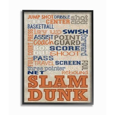 "Orange and Navy Basketball Typog Oversized Framed Giclee Texturized Art (16""x20""x1.5) - Stupell Industries"