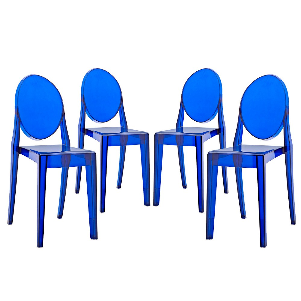 Casper Dining Chairs Set of 4 Blue - Modway