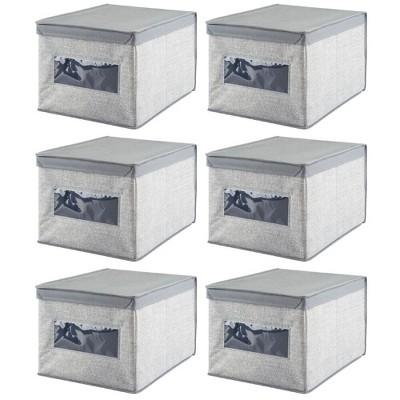 mDesign Stackable Fabric Closet Storage Organizer Box, 6 Pack