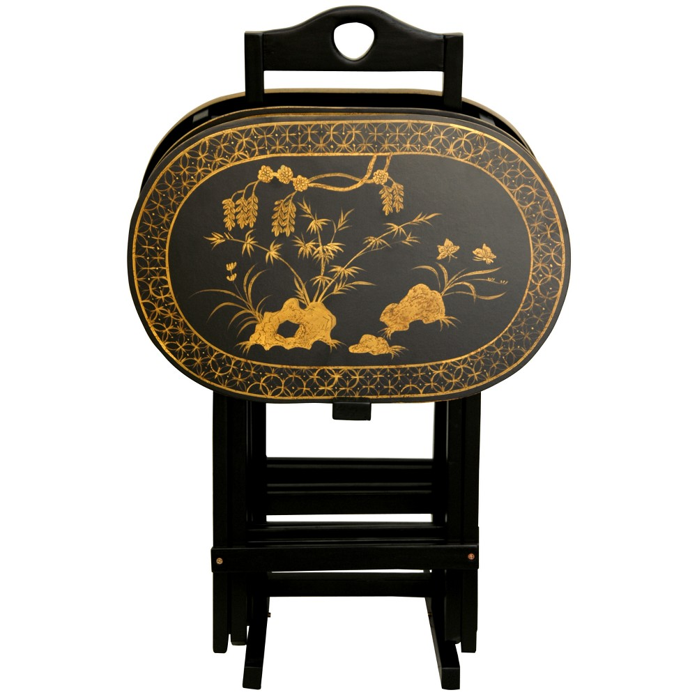 Rosewood TV Tray Set Antique Gold - Oriental Furniture, Vintage Black