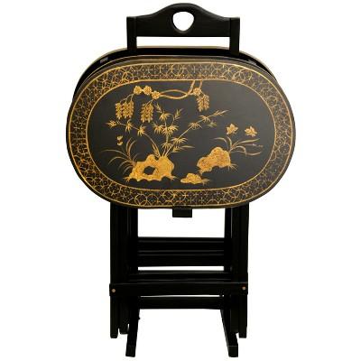 Rosewood TV Tray Set   Oriental Furniture : Target