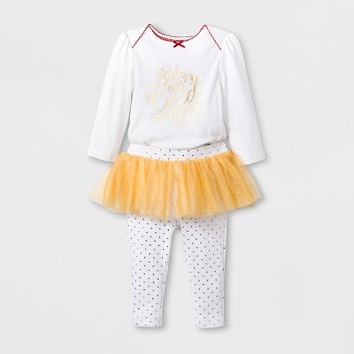 Baby Girls' 2pc Tutu Leggings and Bodysuit Set - Cloud Island™ White/Gold Newborn