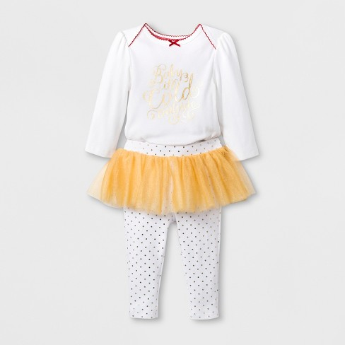 71d47654a Baby Girls' 2pc Tutu Leggings and Bodysuit Set - Cloud Island™ White/Gold