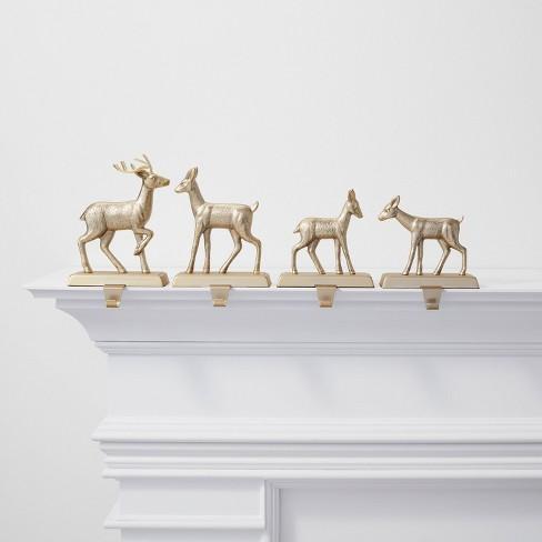 4pk Metal Deer Christmas Stocking Holder Brushed Brass - Wondershop™ - image 1 of 2