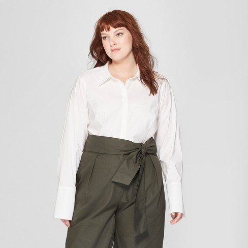 80450580 Women's Plus Size Long Sleeve Fitted Button-Down Collared Shirt - Prologue™  White X : Target