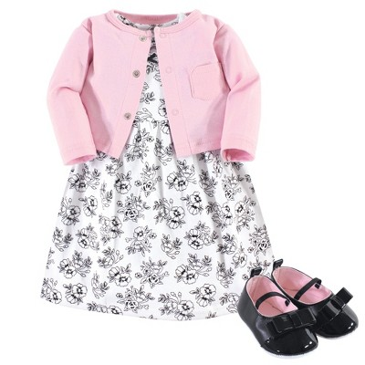 Hudson Baby Infant Girl Cotton Dress, Cardigan and Shoe 3pc Set, Toile