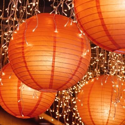 "10ct 10"" Lumabase Orange Electric String Light with Paper Lanterns"