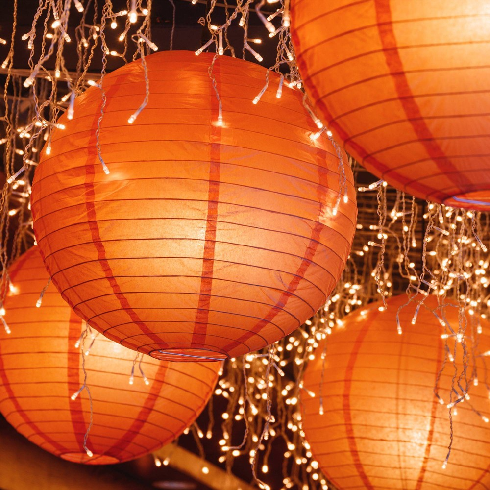 "Image of ""10ct 10"""" Lumabase Orange Electric String Light with Paper Lanterns"""