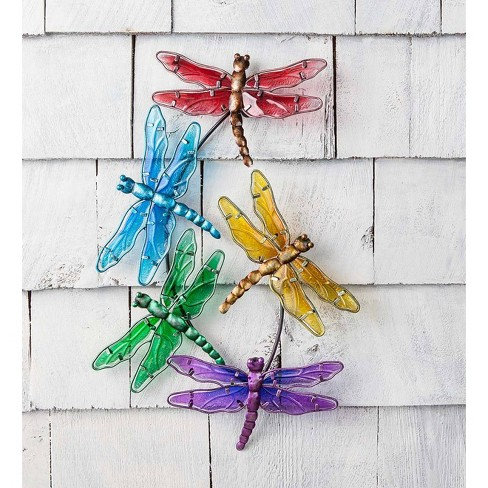 Watercolor Multi Dragonfly Glass 3D Wall Art - Plow & Hearth - image 1 of 1