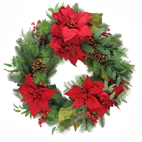 Allstate Floral Red Poinsettia Blooms and Pine Cone Artificial Floral Christmas Wreath - 30-Inch, Unlit - image 1 of 1