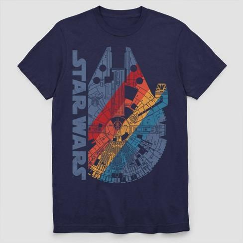 Men's Star Wars Millennium Falcon Rainbow Short Sleeve Graphic T-Shirt - Navy - image 1 of 2