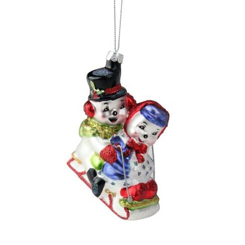 "NORTHLIGHT 4.5"" Sledding Snowmen Couple Glass Christmas Ornament - White/Red - image 1 of 3"