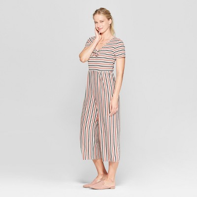 705a61076ff Women s Striped Short Sleeve Tie Front Knit Jumpsuit - Xhilaration™