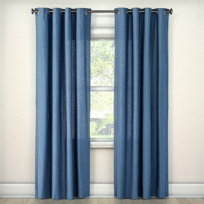 Natural Solid Curtain Panel Blue (54 x95 )- Threshold™