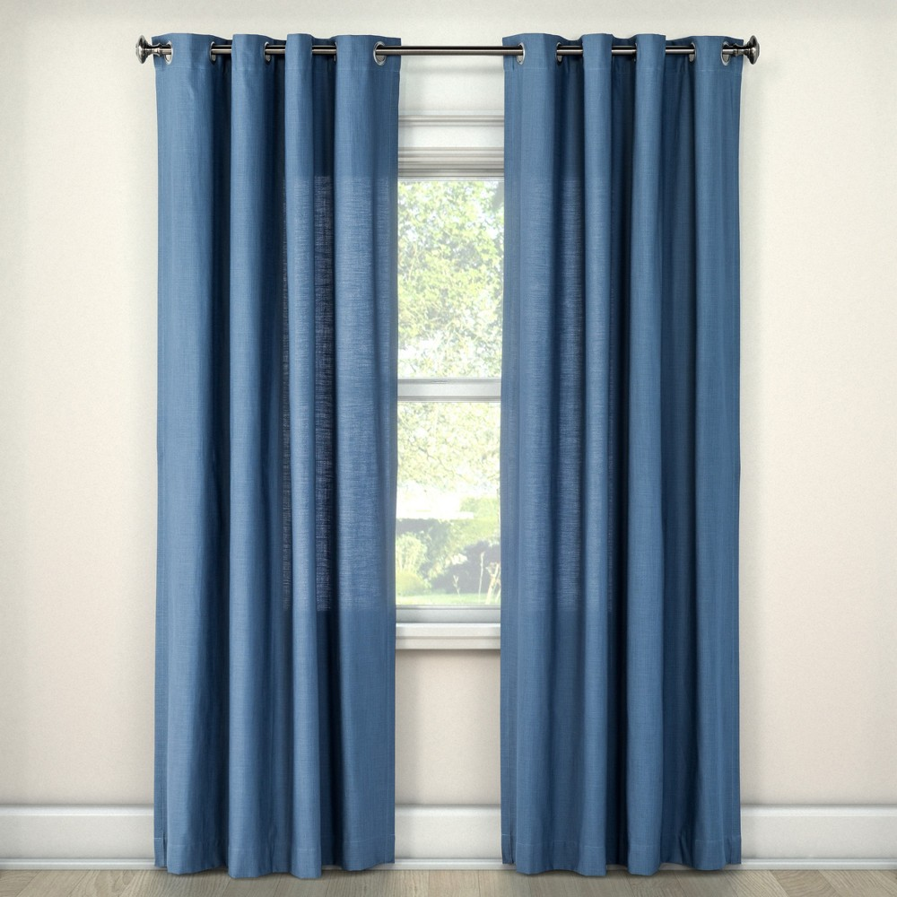 Natural Solid Curtain Panel Blue (54