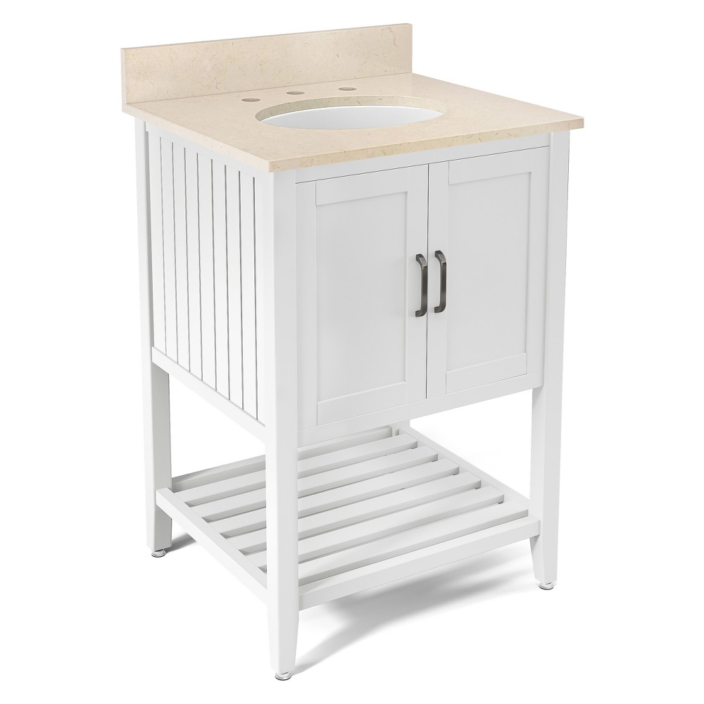 Bennett with Beige Marble Sink Top Set Bath Vanity Cabinet White 25 - Alaterre Furniture