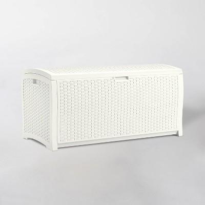 99gal Resin Wicker Deck Box White - Suncast