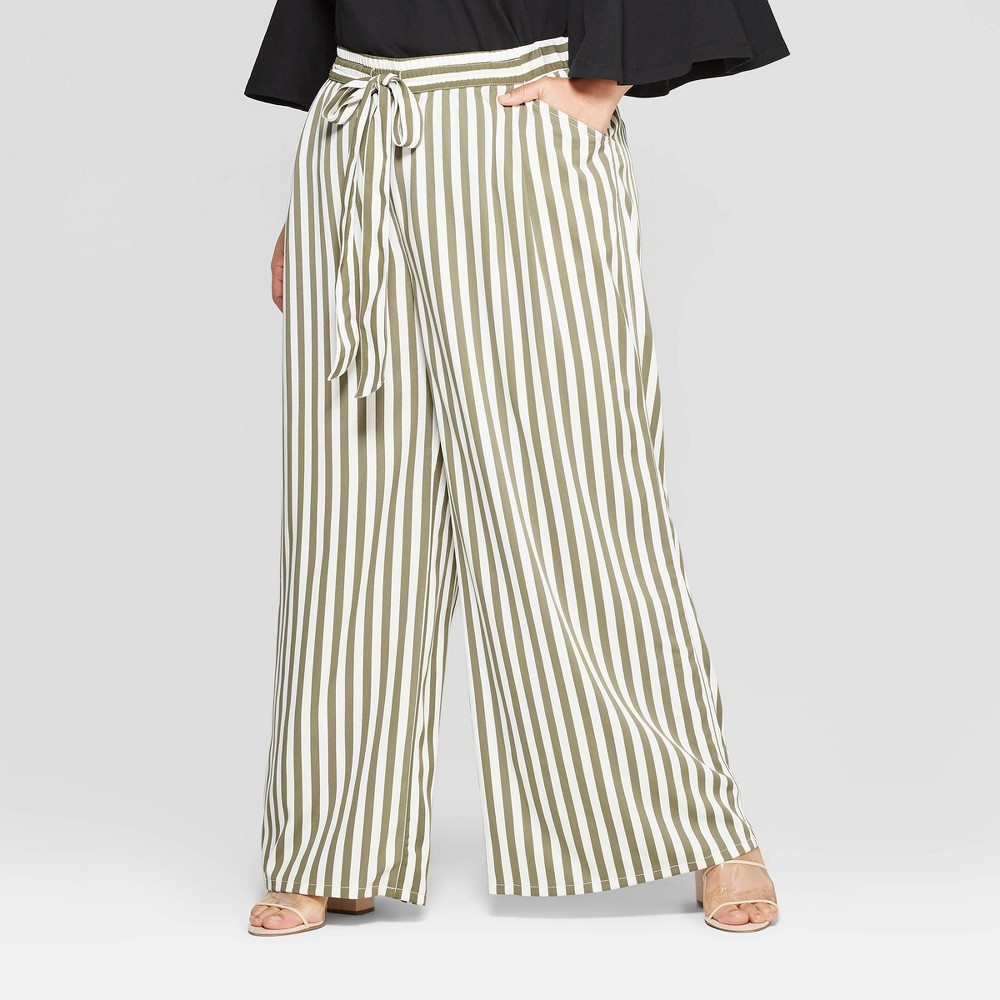 Women's Plus Size Striped Wide Leg Pants - Who What Wear Green/White 2X