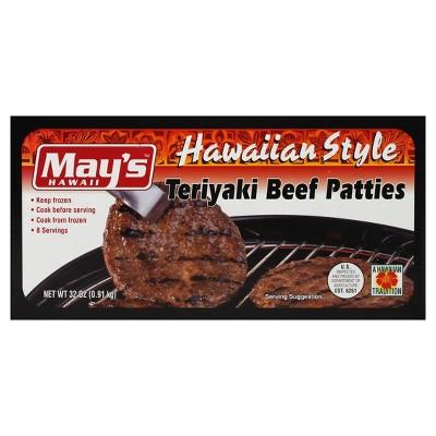 May's Hawaiian Style Teriyaki Beef Patties - Frozen - 32oz/8ct