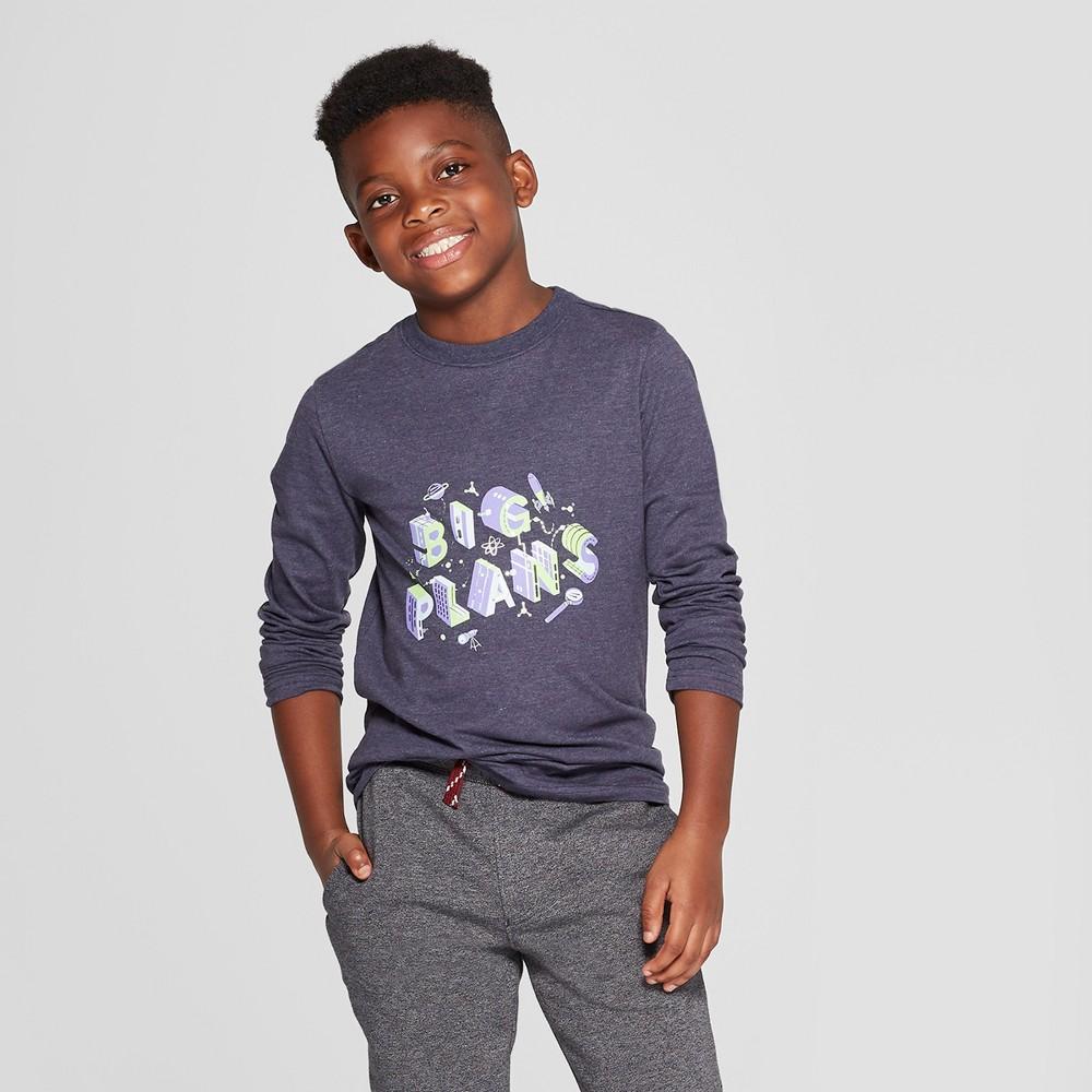 Boys' Long Sleeve Big Plans Graphic T-Shirt - Cat & Jack Navy M, Blue