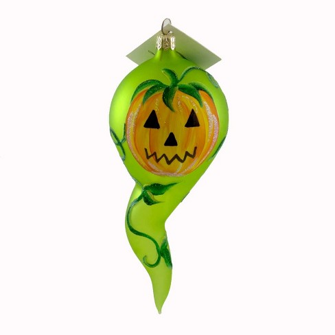 Laved Italian Ornaments Pumpkin Ghost With Leaves Halloween Carved  -  Tree Ornaments - image 1 of 2