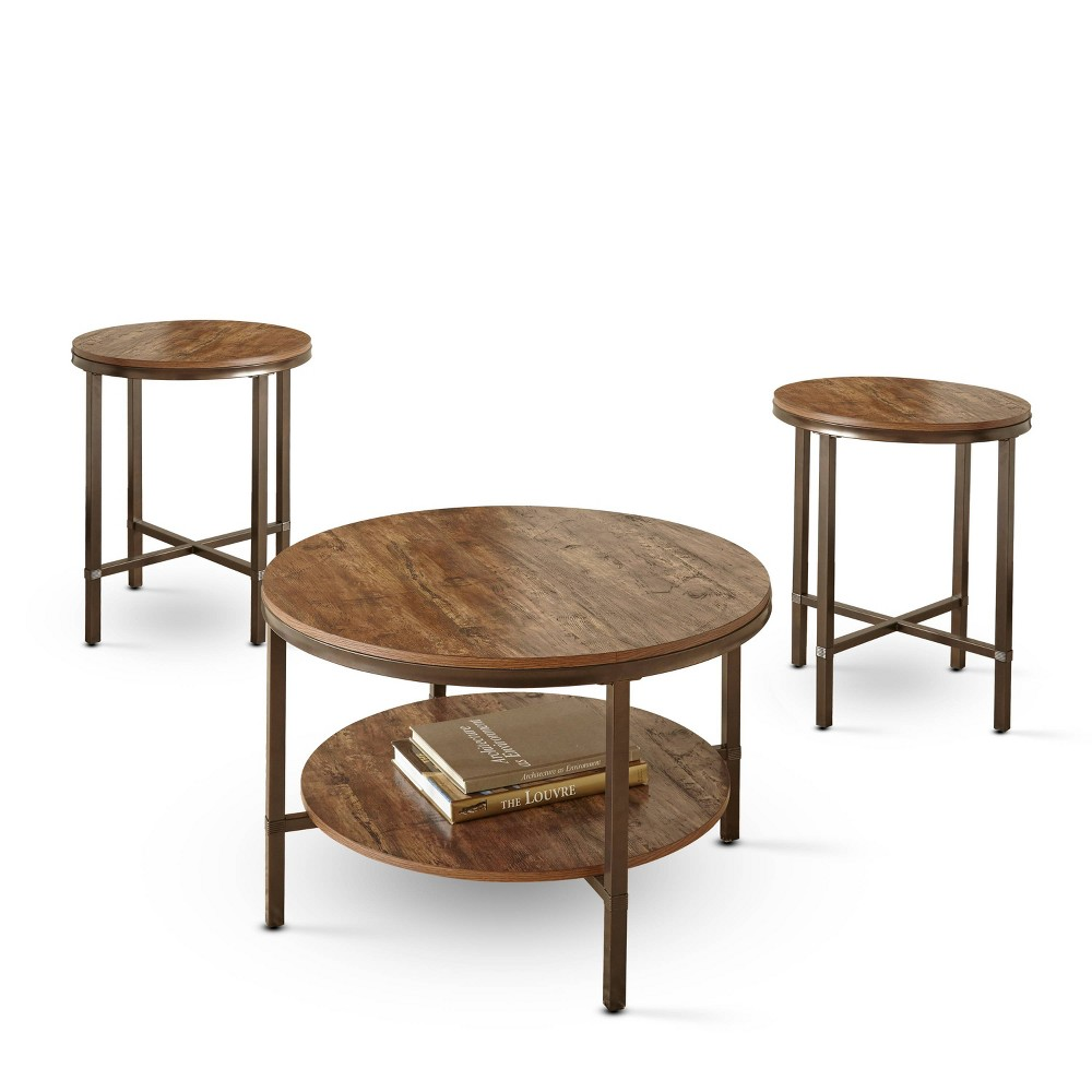 Image of 3pc Sedona Rustic Round Occasional Set Brown - Steve Silver