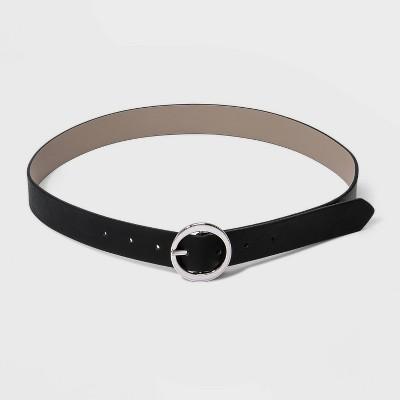 Women's Oval Tapered Center Bar Reversible Belt - A New Day™ Black/Gray