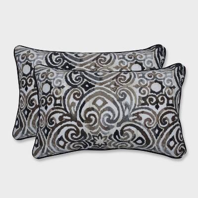 2pk Corrinthian Driftwood Rectangular Throw Pillows Black - Pillow Perfect