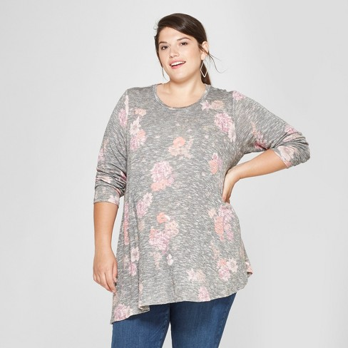 Maternity Long Sleeve Plus Size Floral Print Hatchi Printed Asymmetrical Hem Top - Isabel Maternity Long Sleeve by Ingrid & Isabel™ Navy Heather - image 1 of 2