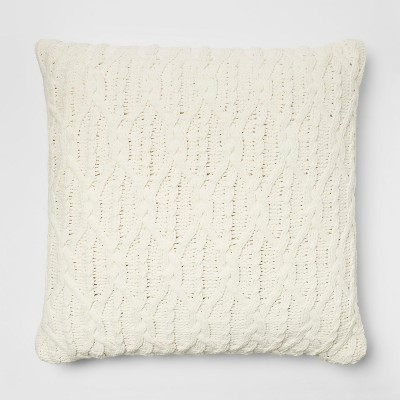 Diamond Knit Chenille Oversized Square Throw Pillow Cream - Threshold™
