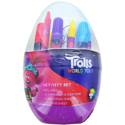 Innovative Designs Trolls Activity Egg Craft Kit | Coloring Pages | Stickers | Markers | Crayons