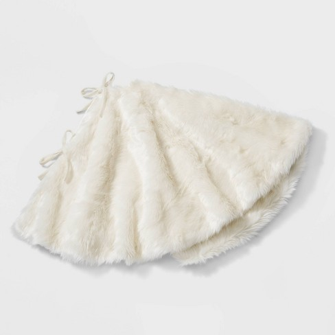 "48"" Faux Fur Christmas Tree Skirt Ivory - Wondershop™ - image 1 of 2"