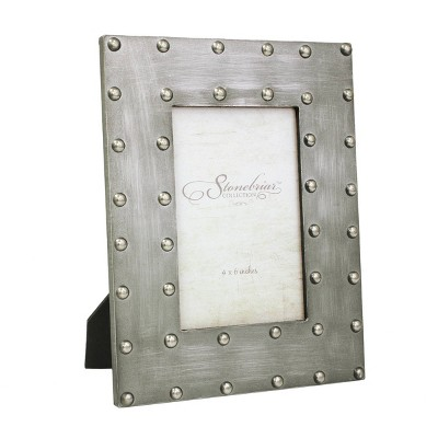 """4"""" x 6"""" Metal Wrapped Frame with Rivet Detail Gray - Stonebriar Collection"""