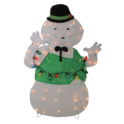 "Northlight 33"" Pre-Lit White and Green Snowman Christmas Outdoor Decor"